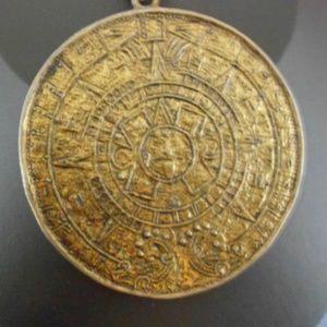 Vintage Aztec pendant Double sided